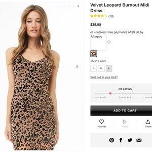 NWT Forever 21 Velvet Leopard Burnout Midi Dress